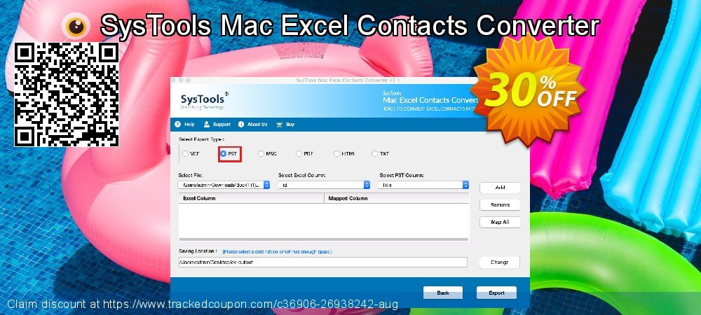SysTools Mac Excel Contacts Converter coupon on Back to School offering discount