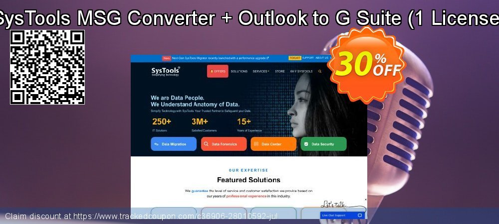 SysTools MSG Converter + Outlook to G Suite - 1 License  coupon on New Year offering sales