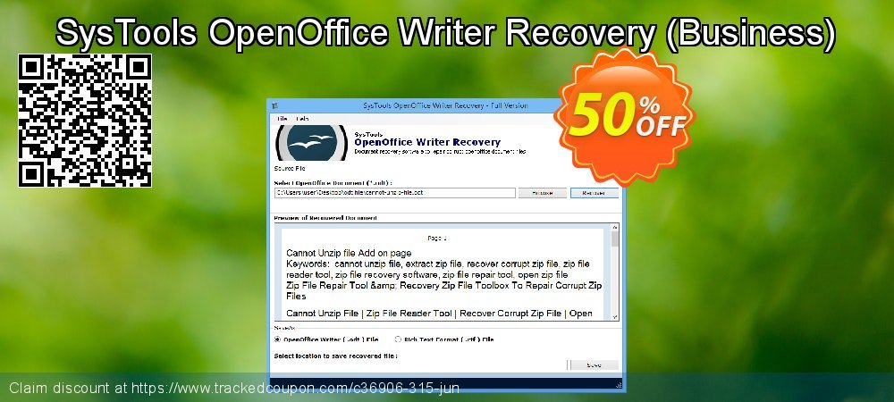 SysTools OpenOffice Writer Recovery - Business  coupon on US Independence Day offer