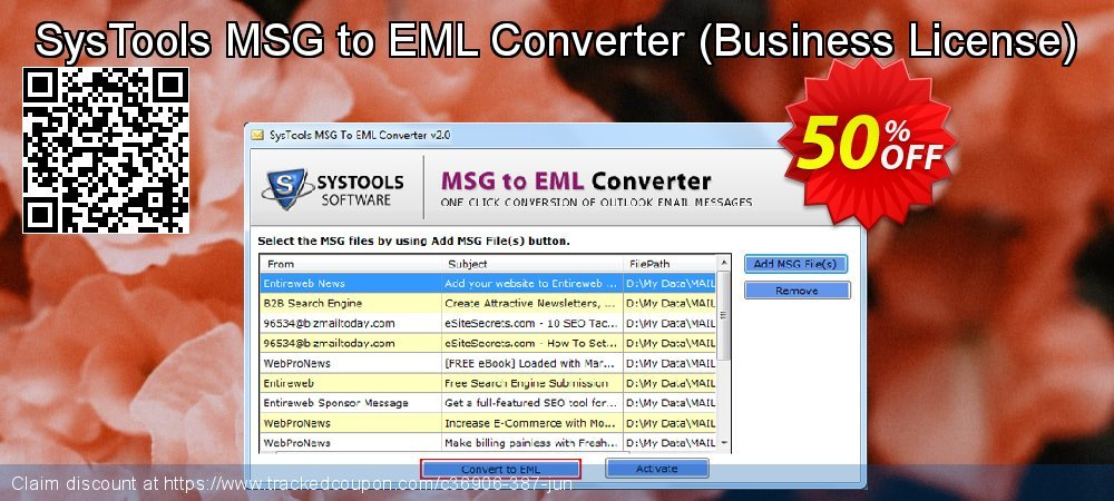 SysTools MSG to EML Converter - Business License  coupon on US Independence Day offer