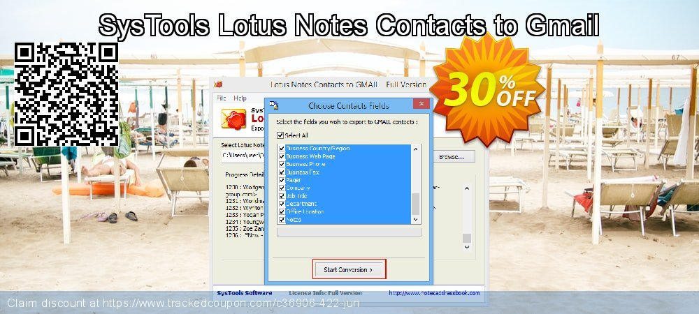 SysTools Lotus Notes Contacts to Gmail coupon on July 4th deals