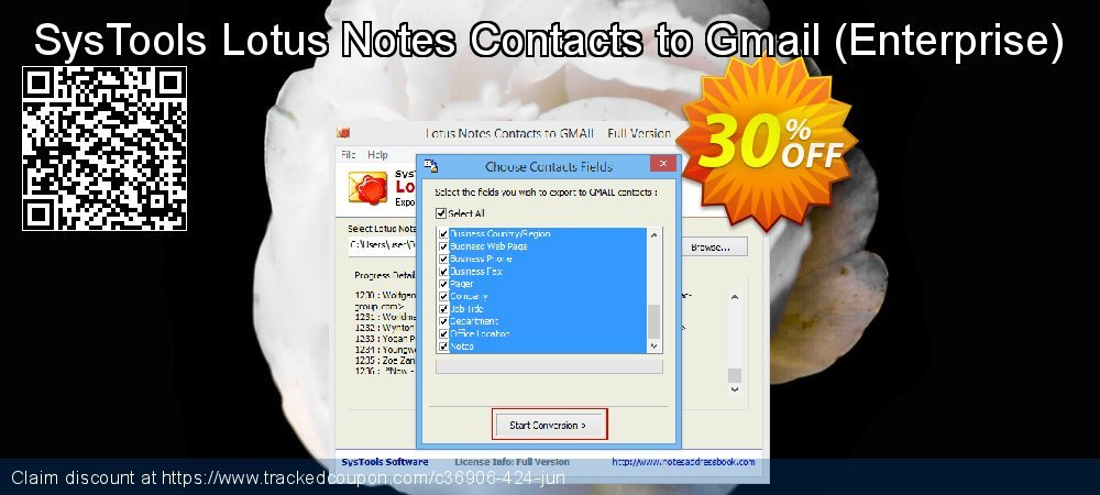 Get 15% OFF Lotus Notes Contacts to Gmail - Enterprise License offering sales
