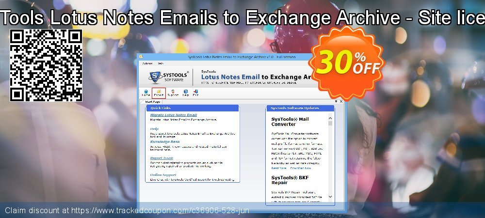 SysTools Lotus Notes Emails to Exchange Archive - Site license coupon on 4th of July promotions
