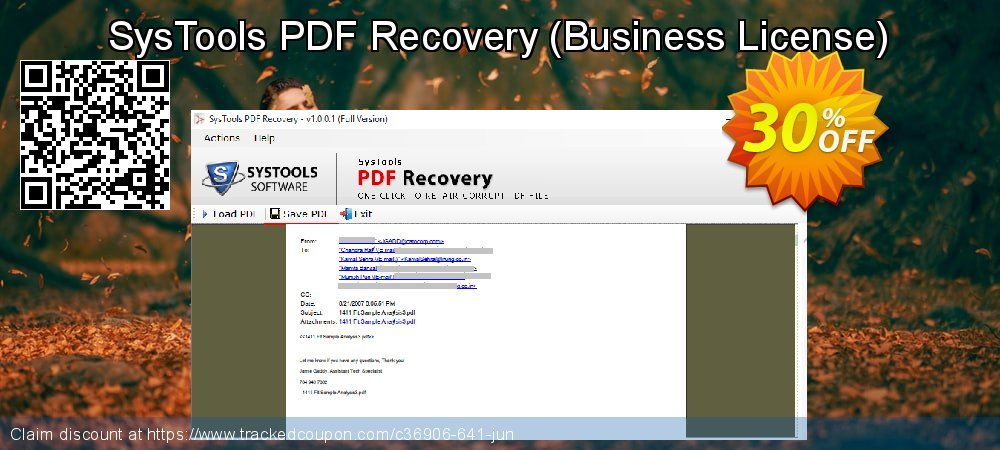 SysTools PDF Recovery - Business License  coupon on New Year's Day discounts