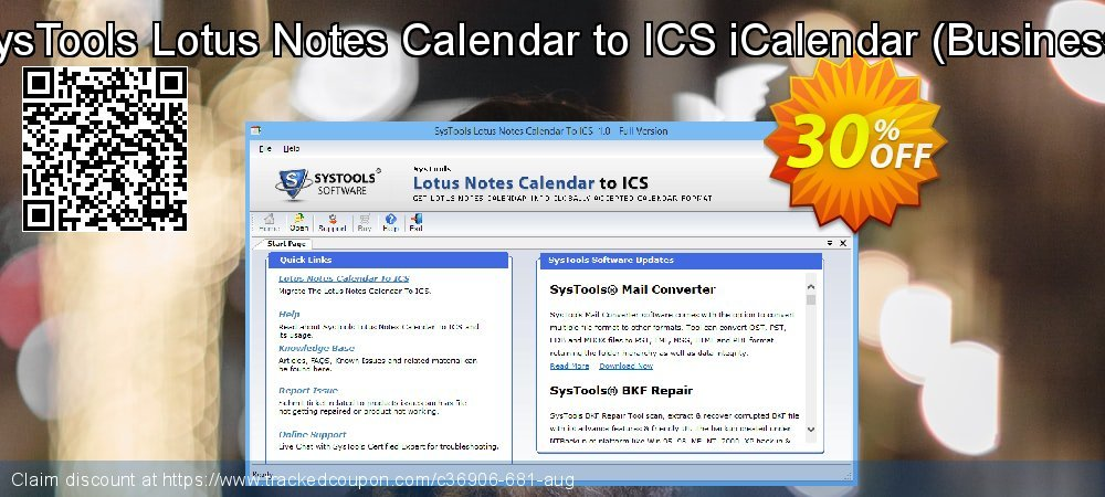 SysTools Lotus Notes Calendars to iCalendar .ICS - Business  coupon on End of Year offering discount