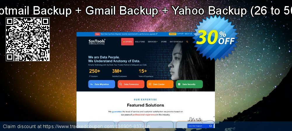 Bundle Offer - Hotmail Backup + Gmail Backup + Yahoo Backup - 26 to 50 Users License  coupon on Black Friday super sale