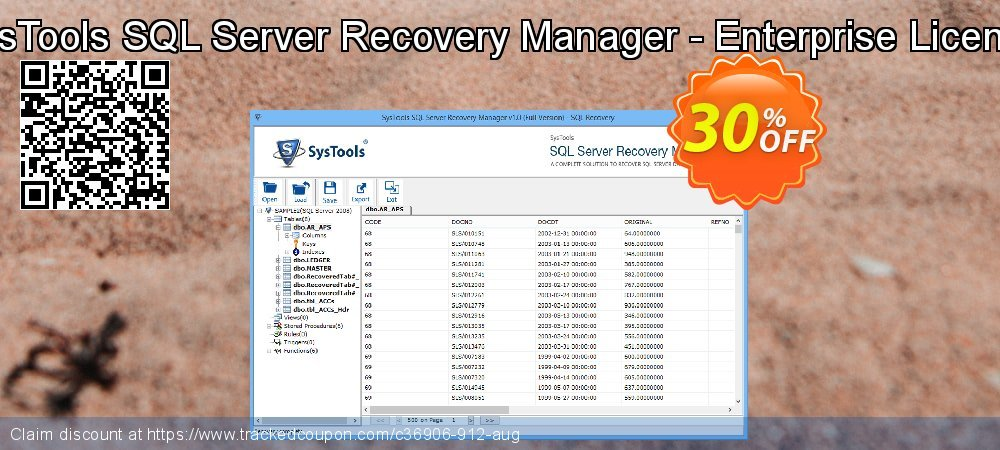 Get 30% OFF SysTools SQL Server Recovery Manager - Enterprise License discount