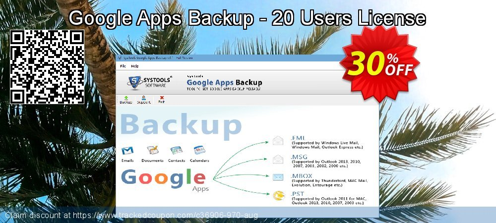 Google Apps Backup - 20 Users License coupon on April Fool's Day offering sales