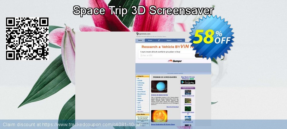 Get 50% OFF Space Trip 3D Screensaver offering sales