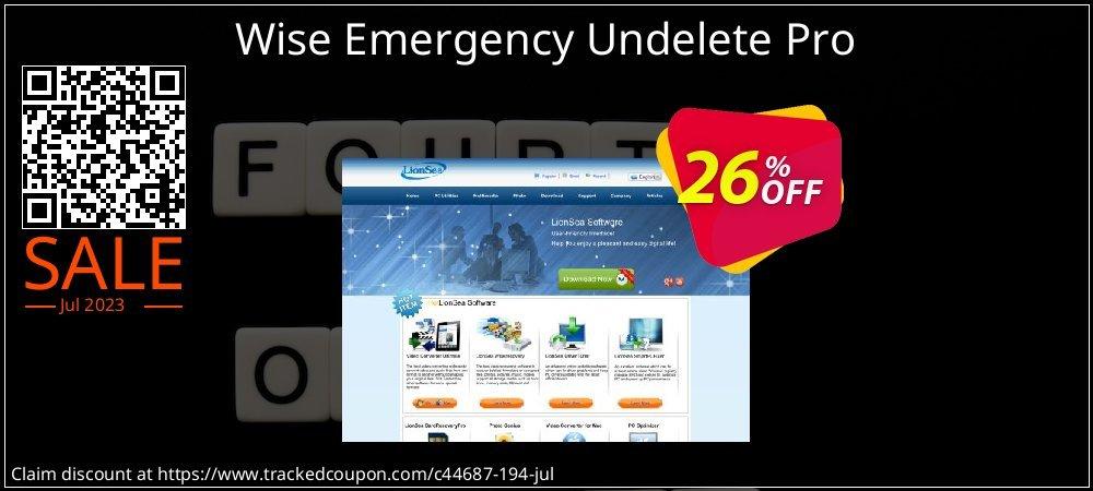 Get 25% OFF Wise Emergency Undelete Pro discounts