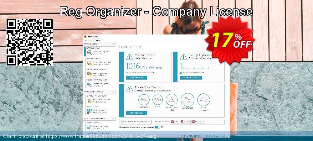 Get 30% OFF Reg Organizer - Company License for 1 PC sales