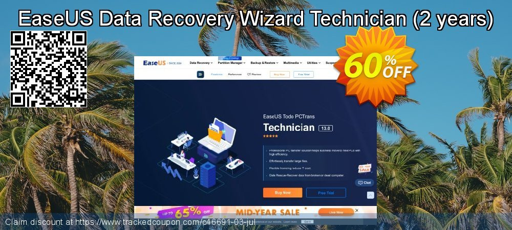 Claim 50% OFF EaseUS Data Recovery Wizard Technician - 2 years Coupon discount October, 2020