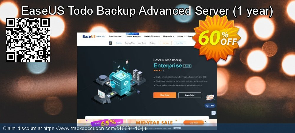 EaseUS Todo Backup Advanced Server - 1 year  coupon on Happy New Year promotions
