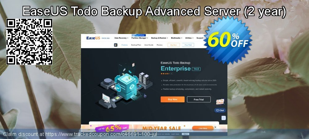 EaseUS Todo Backup Advanced Server - 2 year  coupon on Valentine Week sales