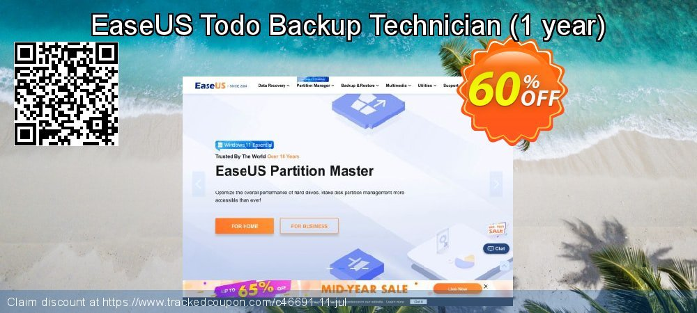 EaseUS Todo Backup Technician - 1 year  coupon on  Lover's Day deals