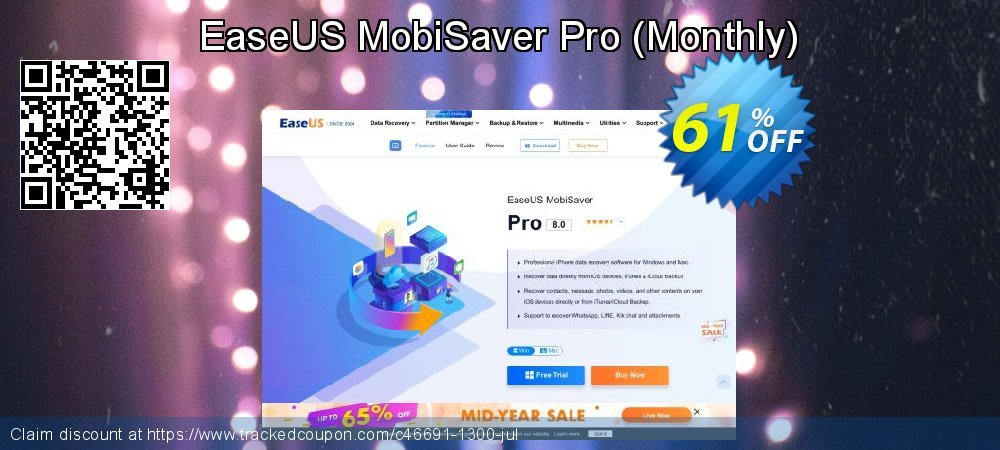 Claim 41% OFF EaseUS MobiSaver Pro - Monthly Coupon discount October, 2020