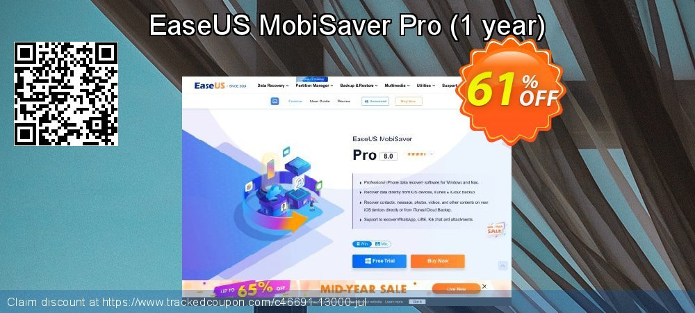 Claim 41% OFF EaseUS MobiSaver Pro - 1 year Coupon discount October, 2020