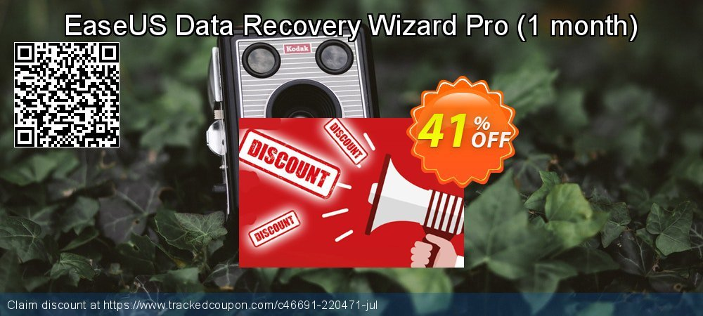 Claim 41% OFF EaseUS Data Recovery Wizard Pro - 1 month Coupon discount March, 2020