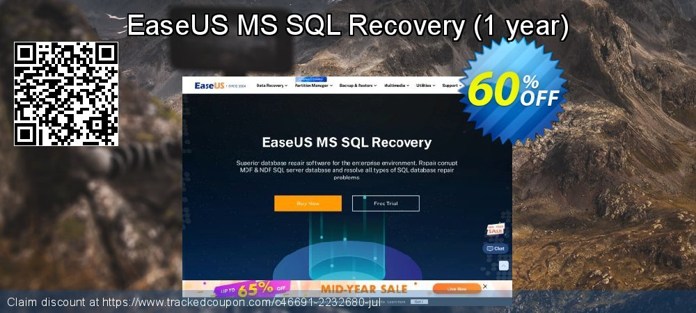 Claim 40% OFF EaseUS MS SQL Recovery - 1 year Coupon discount October, 2020