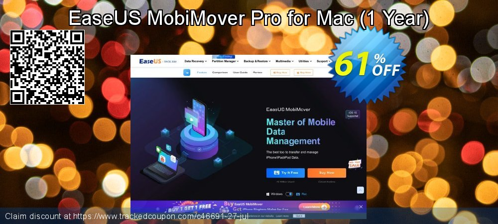 EaseUS MobiMover Pro for Mac - 1 Year  coupon on Natl. Doctors' Day sales