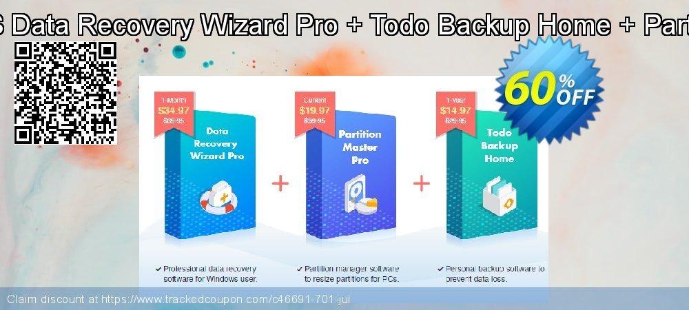 Bundle: EaseUS Data Recovery Wizard Pro + Todo Backup Home + Partition Master Pro coupon on  Lover's Day discounts