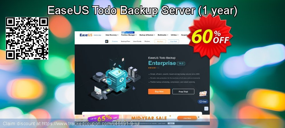 EaseUS Todo Backup Server - 1 year  coupon on Valentine's Day promotions