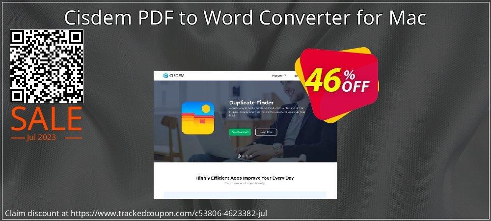 Get 30% OFF Cisdem PDF to Word Converter for Mac offering sales
