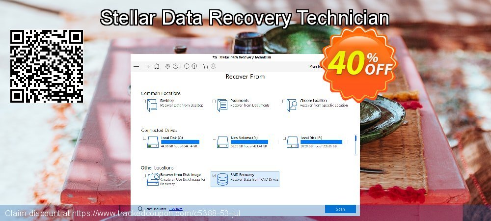 Stellar Data Recovery Technician coupon on New Year's Day offering discount