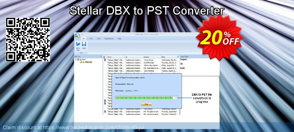 Stellar DBX to PST Converter coupon on New Year offer