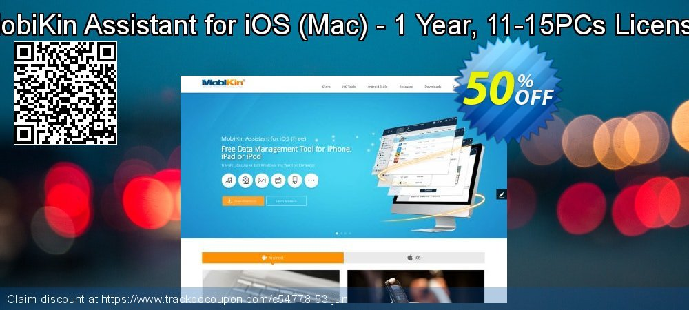 Get 50% OFF MobiKin Assistant for iOS (Mac) - 1 Year, 11-15PCs License discount