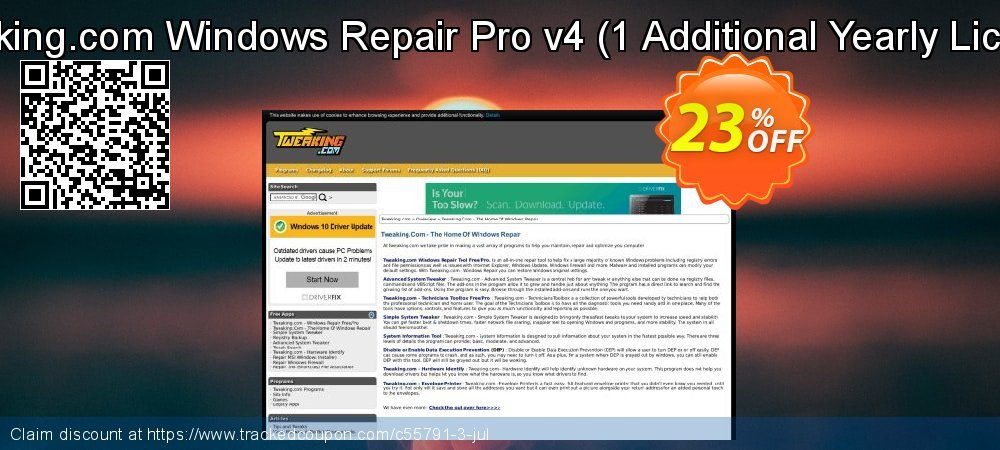 Tweaking.com Windows Repair Pro v4 - 1 Additional Yearly License  coupon on Easter Sunday offering sales