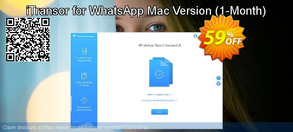 iTransor for WhatsApp Mac Version - 1-Month  coupon on Halloween offer
