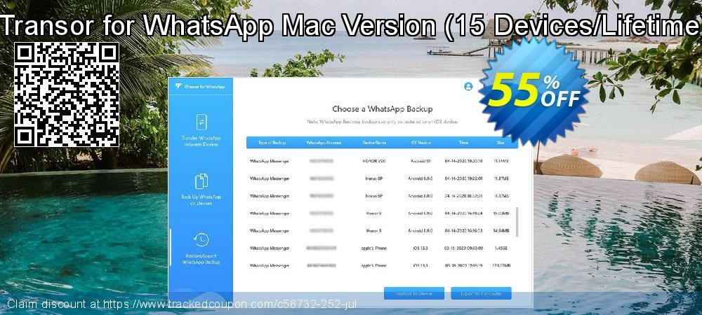 iTransor for WhatsApp Mac Version - 15 Devices/Lifetime  coupon on Halloween offering discount