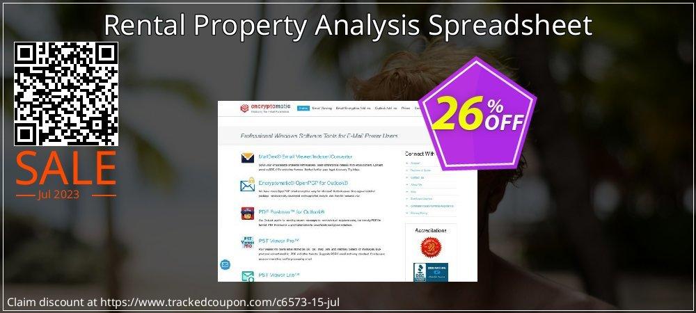 Get 25% OFF Rental Property Analysis Spreadsheet offering sales