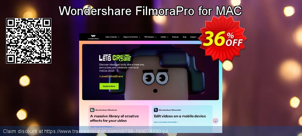 Wondershare FilmoraPro for MAC coupon on July 4th offering discount