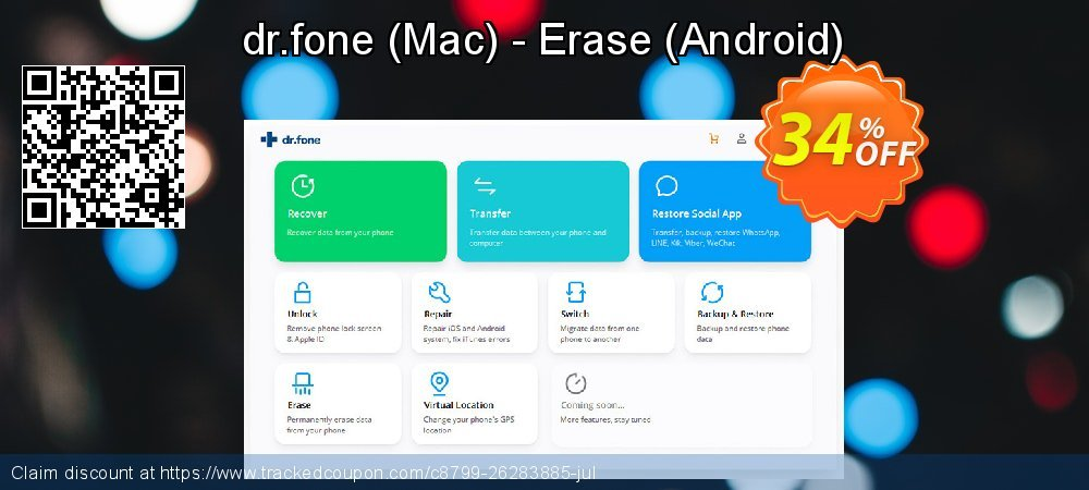 dr.fone - Mac - Erase - Android  coupon on New Year's Day offer