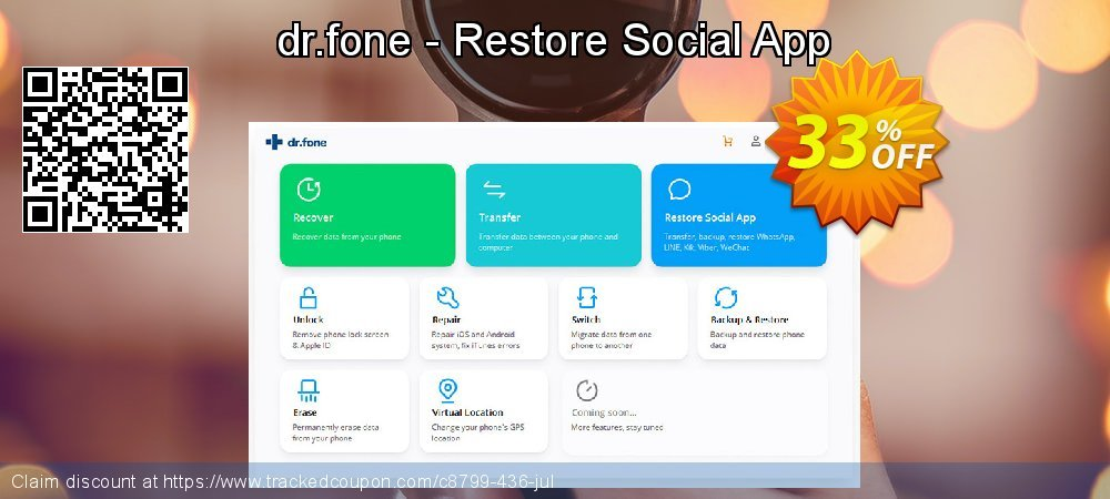 dr.fone - Restore Social App coupon on April Fool's Day discount