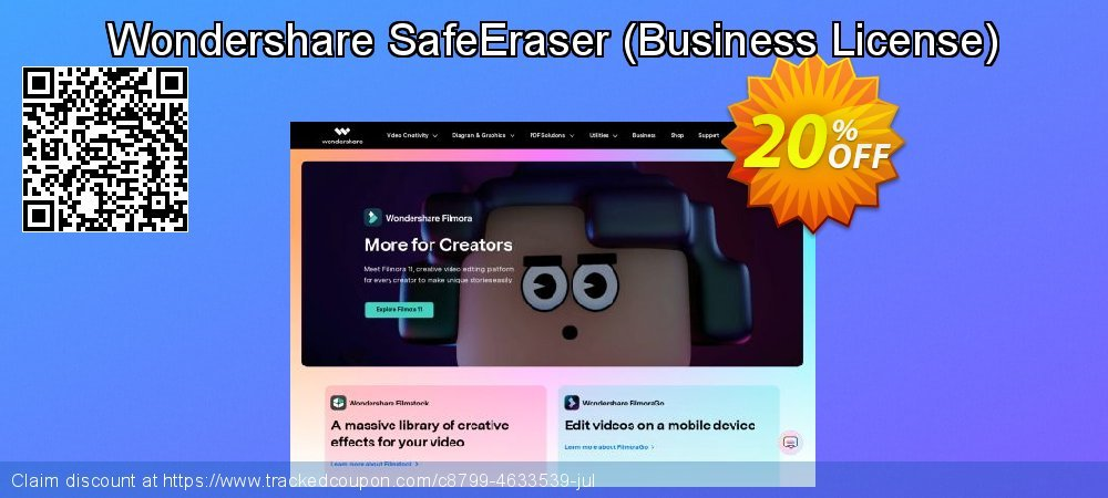 Wondershare SafeEraser - Business License  coupon on Halloween offer