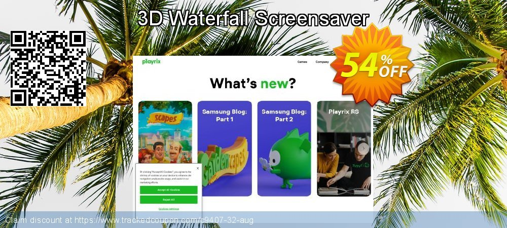 Get 50% OFF 3D Waterfall Screensaver offering sales